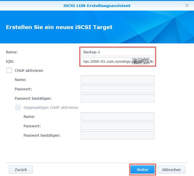 iSCSI LUN und iSCSI Target erstellen