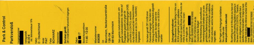 Park & Control PAC GmbH Strafzettel